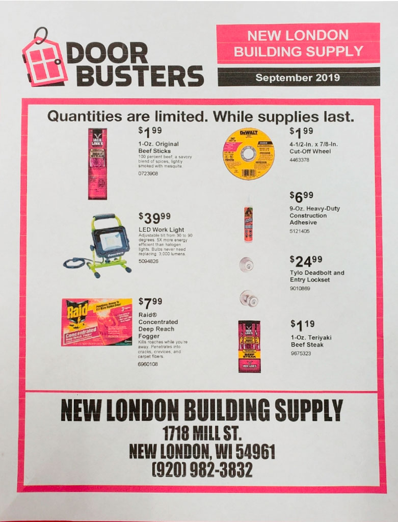 New London Building Supply In Store Flyer